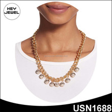 gold plating crystal beads pendant new model necklace chain
