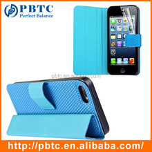 Set Screen Protector And Case For Iphone 5 , Blue Hexagon Pattern PU Mobile Phone Leather Case