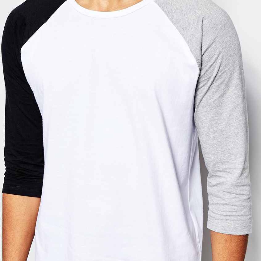 High quality wholesale white bulk blank raglan 3 4 sleeve for Good quality long sleeve t shirts