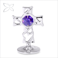 Unique Irresitible Chrome Plated Crystals Silver Cross