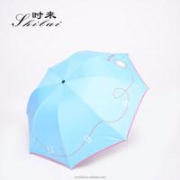 China manufacturer UV protection black gel coating clock printing 4 folding umbrella