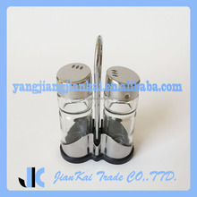 Set Of 2 Custom Cheap Glass Salt And Pepper Shakers Wholesale With Stainless Steel Tops
