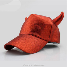 high quality colorful funny baseball cap with horn