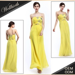 Special Design Heavy Nail Beaded Chiffon Long Gowns Yellow / Evening Dresses