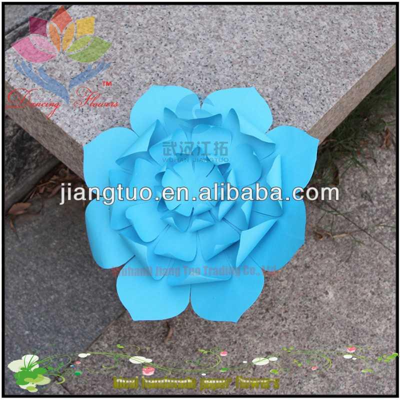Оптовые Партии Этап Декор Большой Роуз Форма Синий Складывания Бумаги Цветы