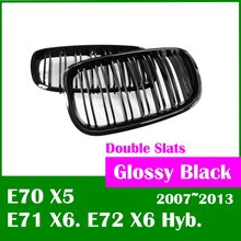 Free shipping Double Slats Glossy Black for BMW X5 X6 grill E70 E71 E72 2007 2013