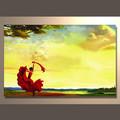 De oro del arte de la mano- pintado de pintura al óleo abstracta en aceite