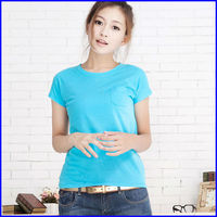 Hot sale fashion design 100 cotton t shirt with pocket for ladies blank t shirt china wholesale