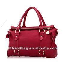 Rose red Classic fashion trend featured major suit shoulder leather handbag