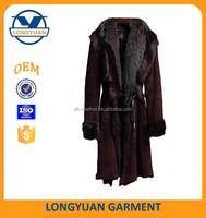high quality fashion garments new design ladies suit suede leather winter coat for women with fur