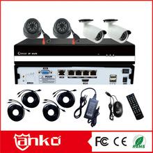 H.264 cctv camera kit 4CH POE NVR kit with 720p IP camera 2dome 2bullet
