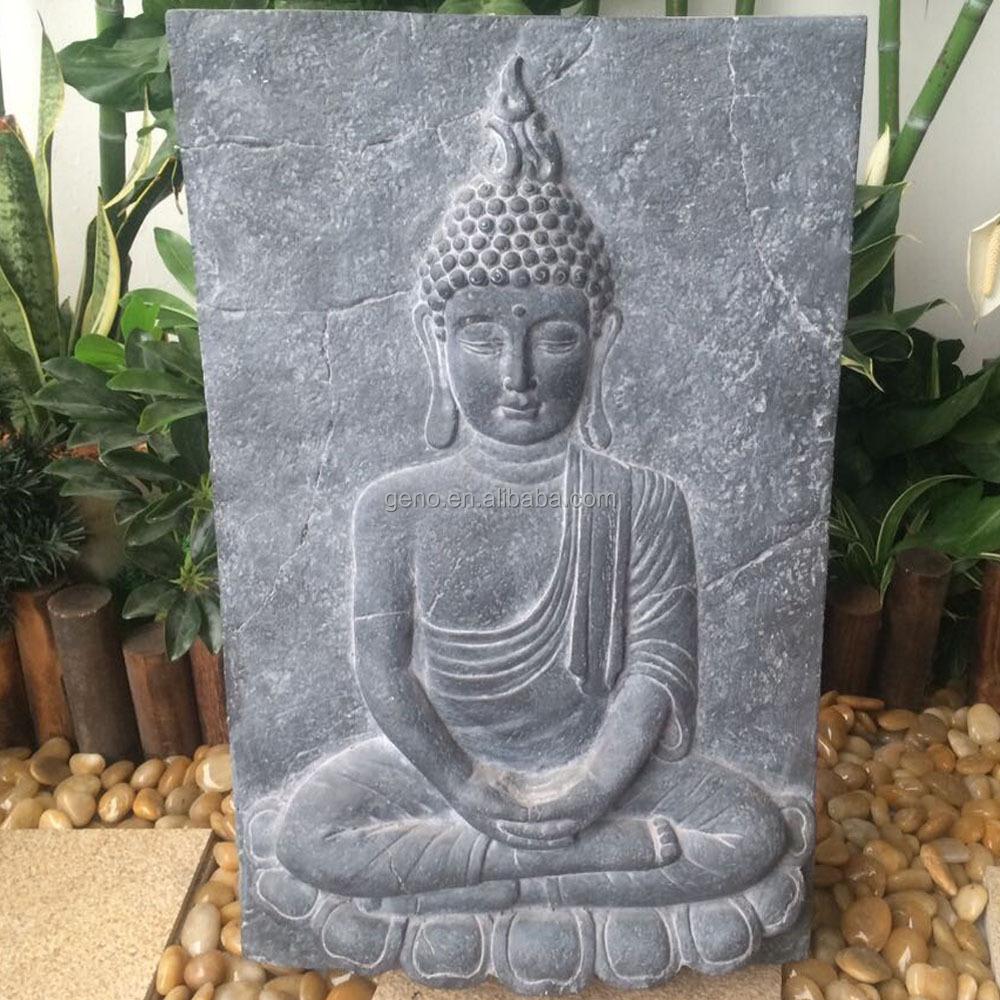 Gros vintage pierre r sine bouddha plaques murales plaques for Decoration exterieur bouddha