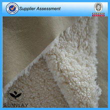 Suede with spandex bonding with sherpa like fleece