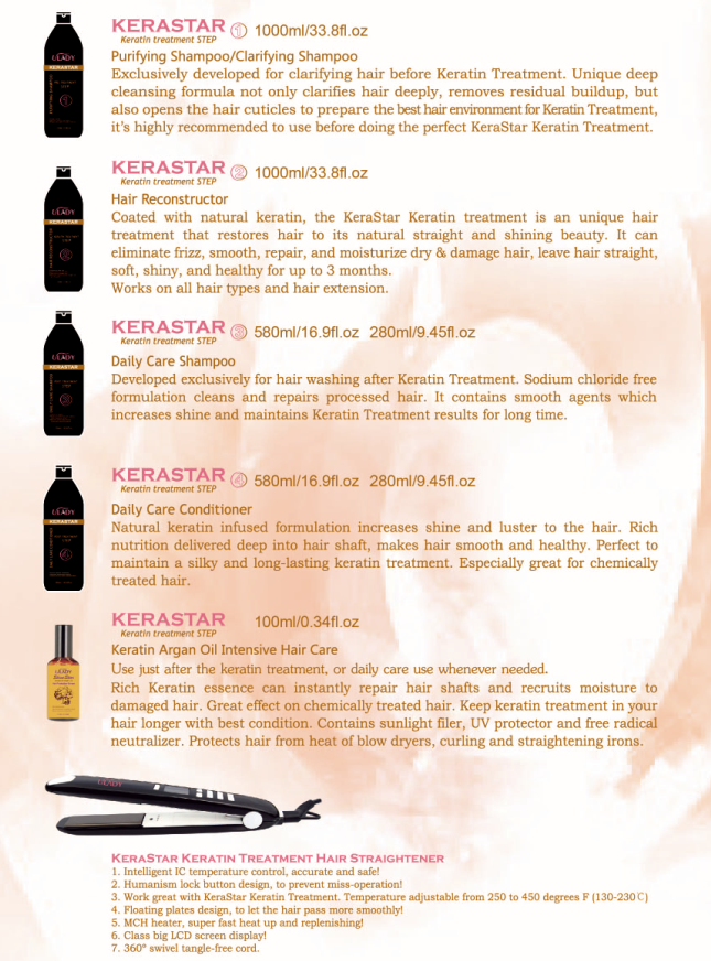 home use after brazilian keraitn treatment care shampoo and conditioner with Hydrolyzed Keratin