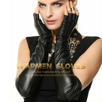 WARMEN Opera Long Opera Long Ladies 100%Lambskin Leather Gloves Half Finger / Fingerless