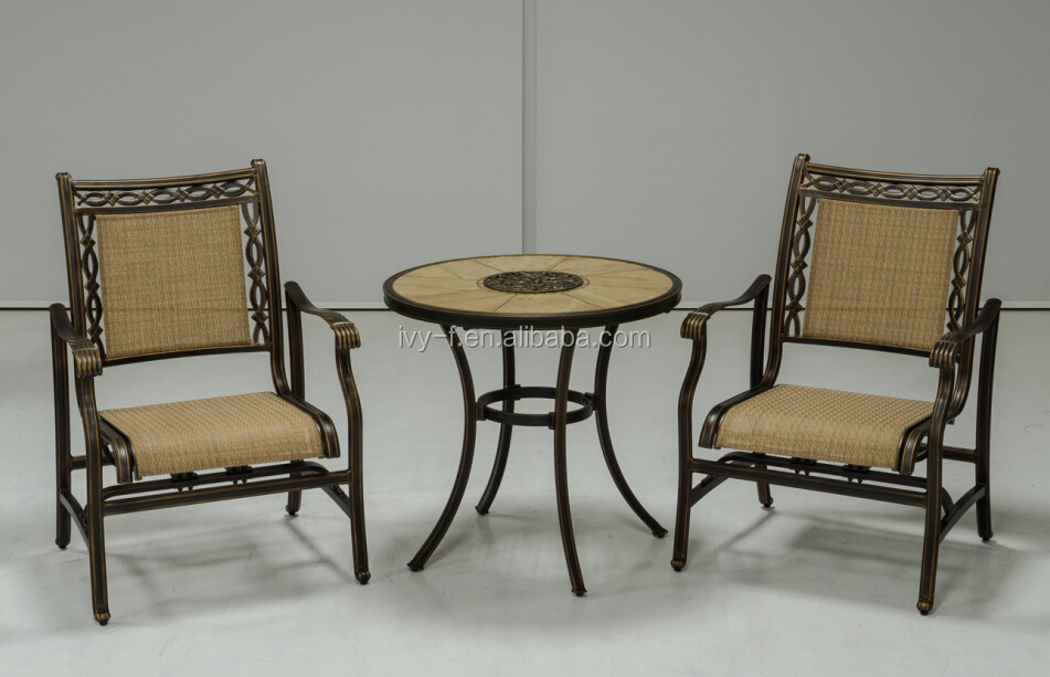 Outdoor Garden Furniture Cast Aluminum With Sling Fabric