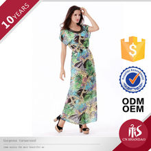 Hot Fashion African Block Printed Maxi Chiffon Dresses With Glass Tube For Women