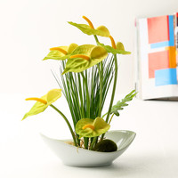 2015 yellow Anthurium artificial flowers an vase Ceramic home decoration artificial flowers for decoration high-end wholesale