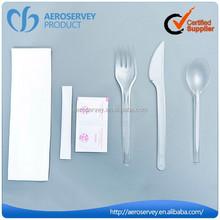 2015 Best seller plastic disposable flatware set Airline serving fork and knife set