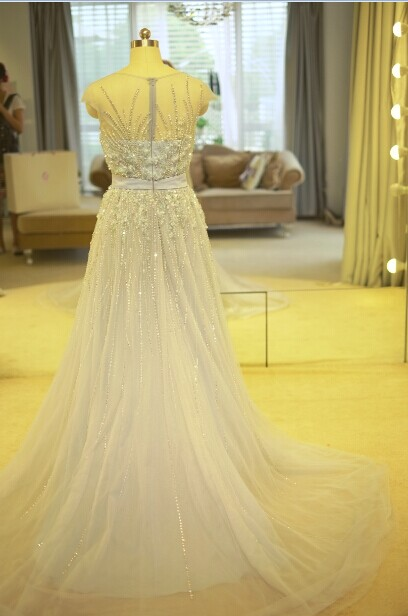 Luxury Beaded Embroidered Tulle Long Chiffon Real Elie Saab Evening Dress Online Shopping 2014