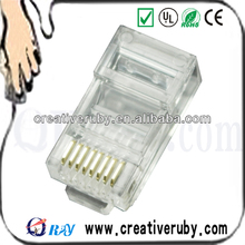 8 Position 8 Pin, Clear Cat5e RJ45 Modular Connector Gold Plated Fu''