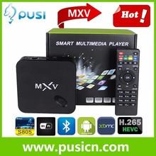 Cheapest Amlogic S805 Quad Core MXV HD 1080P RJ45 kodi WIFI 3D Android 4.4 mxv smart tv box wireless remote control