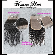 New Kason Products Top Indian Woman To Woman Sex Black Curl Human Hair Lace Closure Bleached Knots