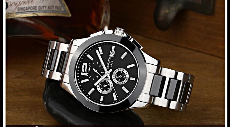 Бингер Мужские Марка Platinum Серый Серебристый Циферблат Керамический Ободок Часы Chronograph Мужские Приборы Часы Binger Наручные Часы