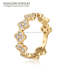Neoglory AAA Zircon Fashion Cheap Flower Ring For Women Rose Gold Plated Wedding Party