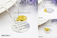 2015 Hot Selling Love Family Circle Name Family Is A Circle Of Strength And Love Necklace