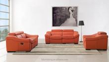 JR8021B modern living room Italy orange genuine top cow leather reclining soft sofa set 1+2+3 Foshan furniture market agency