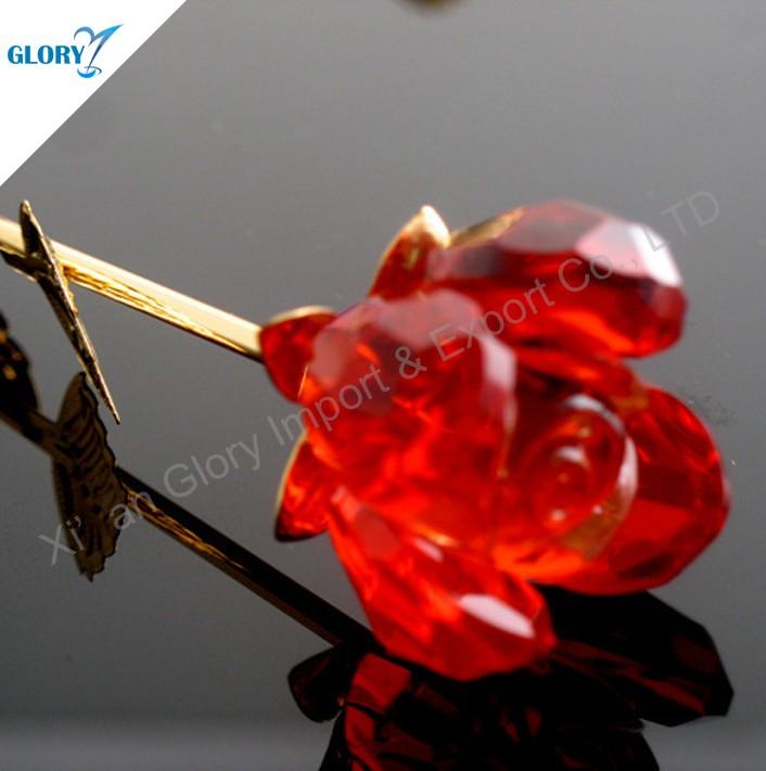 Mignon Coloré Rose Pourpre Bleu Rouge Cristal Rose Fleur