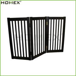 Espresso Finish Wood 3 Panels Free Standing Folding Dog Pet Gate/Homex_BSCI