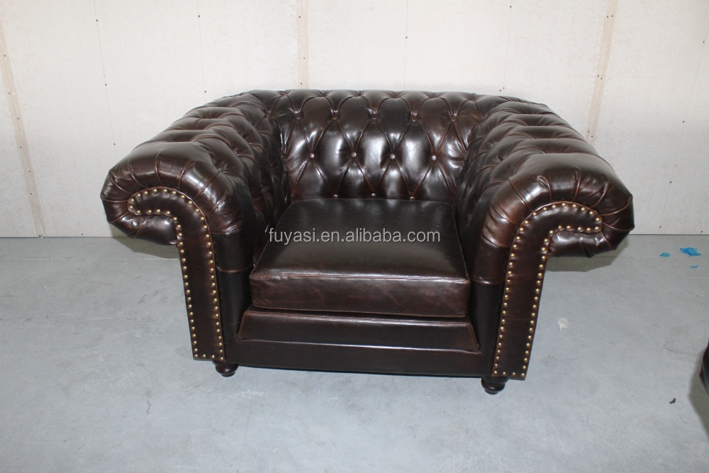 Genuine leather button sofa antique style living room sofa for Y h furniture trading