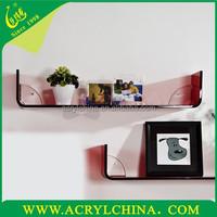 2015 new fashion Acrylic display shelves/Modern minimalist hotel wall shelf/PMMA Creative hanging board