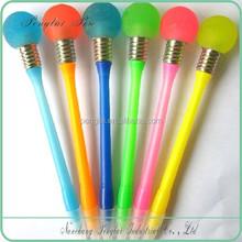 2015 Novelty top selling bulb shape ball pen with led light,pen light bulb