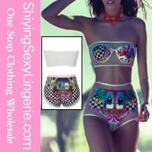 Brazilian Fashion Sheer Print Tube biquini brazil monokini bikini bulgaria