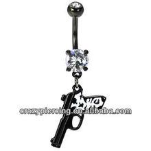 Gun Belly Button Ring Cheetah Print Uv Acrylic Body Navel Piercing Jewelry