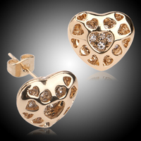 daily wear pictures of gold heart earrings for teen girls