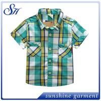 Best Quality boy plaid tee shirt children tee shirt