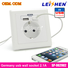 multifunction Euro use wall socket with usb output 5V 2.1A