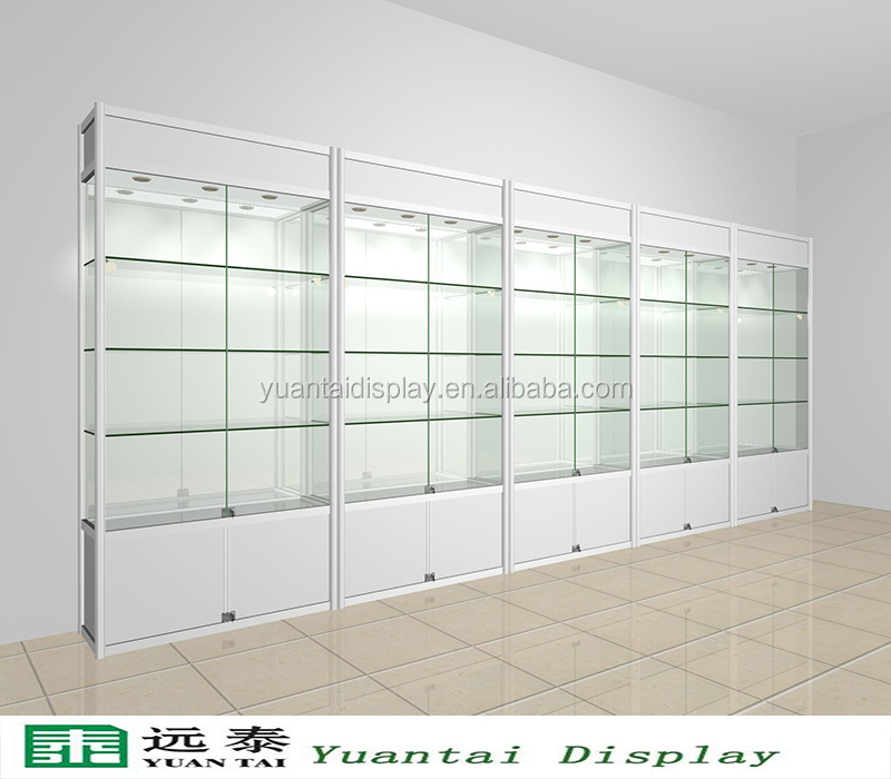 modern custom made glass vitrine jewelry display showcase with lock and led spot light for sale. Black Bedroom Furniture Sets. Home Design Ideas