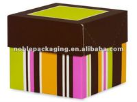 "CANDY STRIPE 2 pc Folding Box w/ 1-1/2"" Cuff Lid"
