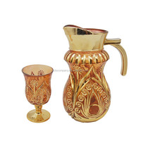 arabic style glass drinking jug set golden plating