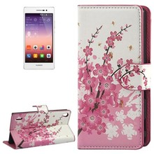 Wholesale Plum Blossom Style Flip Leather Case with Card Slots and Holder for Huawei Ascend P7