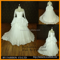 Real See Through Sexy neckline tulle puffy princess ball gown wedding dress picture