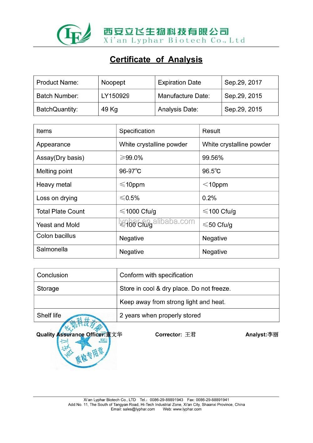 N ° CAS: 157115-85-0 Haute Pureté Nootropics 98% Noopept