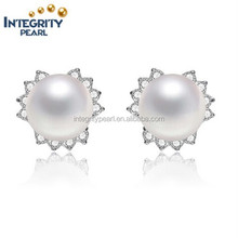 2015 top sale 9mm button real natural pearl earring stud