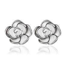 Simple Elegant Platinum Plated White Enamel Flower Stud Earrings For Women Ladies