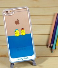 Hot New Products for 2015 Unique Factory directly sell Transparent Cartoon Lovely Duck Liquid Case Cover for Apple iPhone 6